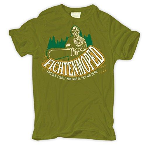 Männer und Herren T-Shirt Fichtenmoped Kettensäge Moosgrün