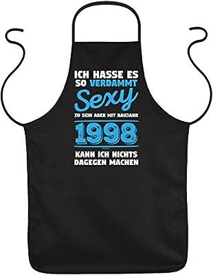 Mega-Shirt Geschenk zum 21. Geburtstag Schürze verdammt sexy Baujahr 1998 zum 21 Geburtstag Küchenschürze 21 jähriger Geschenk für 21 Jährige zum Grillen