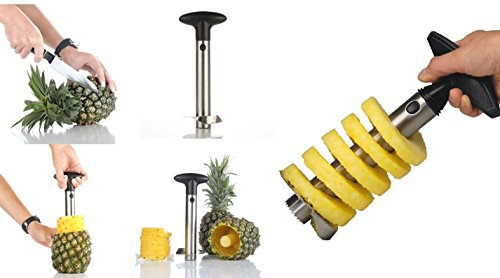 Jeval Stainless Steel Pineapple Cutter, Slicer and Corer/Pineapple Corer Pineapple Slicer Stainless Steel with Non-Slip Handle and Serrated Blade Pineapple Cutter Peeler - 1 PCS
