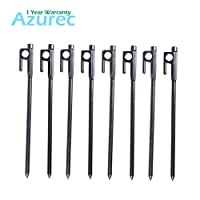Azarxis Tent Pegs Ground Stakes Camping Heavy duty Forged Steel Metal Large Hard Ground Rocky Cast Wrought Iron 12 8 Inch with Hook (Forged Steel - 8 Pack, 8 inches)