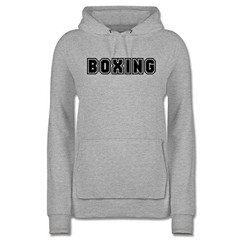 Shirtracer Kampfsport - Boxing Schriftzug - S - Grau meliert - JH001F - Damen Hoodie