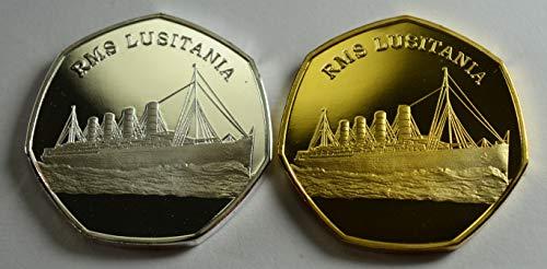 The Commemorative Coin Company RMS LUSITANIA Cunard Gedenkmünzenalben, Silber und 24 Karat Gold, 50 Pen, Sammler, Münzjagd, 2 Stück Ocean Liner WW2 -