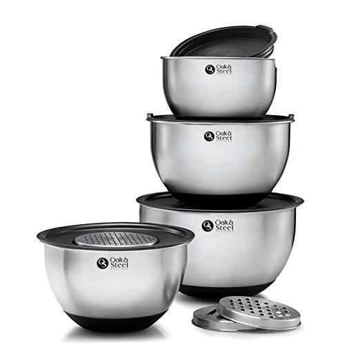 11-Teilig Premium Edelstahl Schüsselset Salatschüssel Set (4.5L 3.5L 2.5L 2L)| 4 Rührschüsseln mit 4 Luftdichte Deckel & 3 Reiben| Stapelbar & Rutschfest - Multifunktional für Backen Gemüse & Salate.