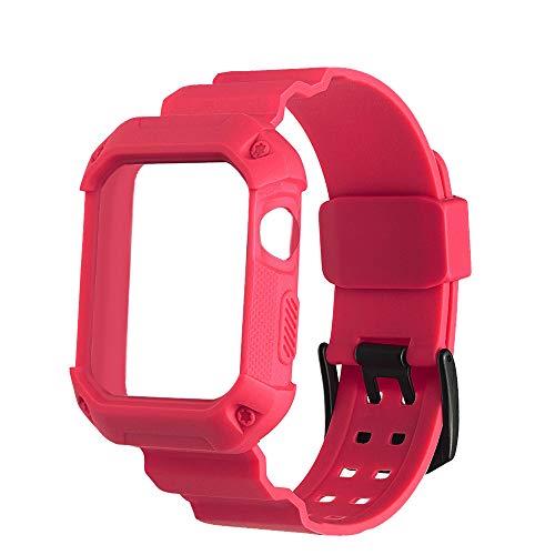 Watch Band gaddrt Smart Uhrenarmband Für die Apple Watch Serie 1 2 3 Sport Gummi Handgelenk Band Strap + Bumper Uhrgehäuse 42mm (Red)