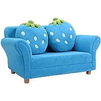 COSTWAY Kindersessel Sessel Sofa Kindercouch Babysessel Kindersofa Kindermöbel 90x54,8x48cm Korallen-Samt mit 2 Kissen preisvergleich bei kinderzimmerdekopreise.eu