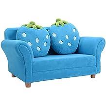 COSTWAY Kindersessel Sessel Sofa Kindersofa Kindercouch Babysessel Kindermöbel 90x54,8x48cm Korallen-Samt mit 2 Kissen