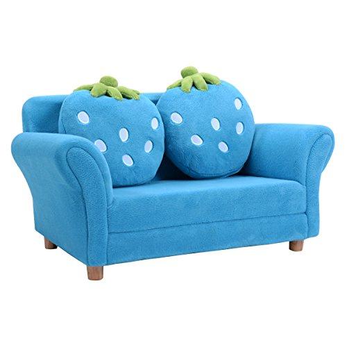 Preisvergleich Produktbild COSTWAY Kindersessel Sessel Sofa Kindercouch Babysessel Kindersofa Kindermöbel 90x54,8x48cm Korallen-Samt mit 2 Kissen (Blau)