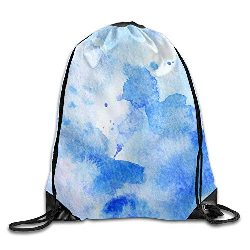 GONIESA Hand Painted Watercolor Background Abstract Texture Blue Drawstring Bags Travel Backpack Sport Bag for Men & Women Blue Hand Painted Muslin