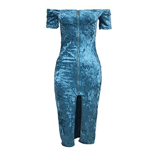 Valin Or80399 Damen Bodycon Kleid Blau