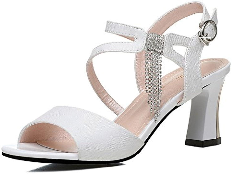 RUGAI-UE Rough Heel Shoes, sandalias, y grandes patios de sandalias,blanca,37 -