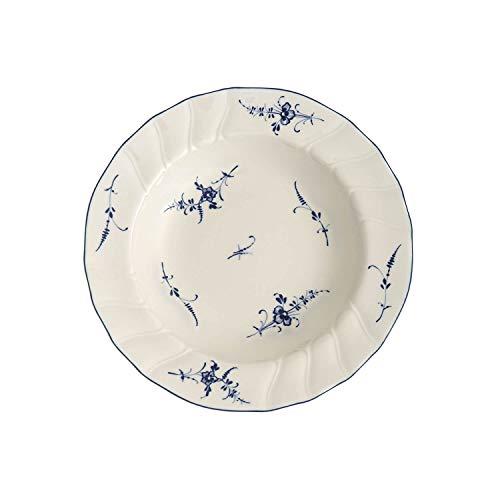Villeroy & Boch Vieux Luxembourg Suppenteller, 23 cm, Premium Porzellan, Weiß/Blau