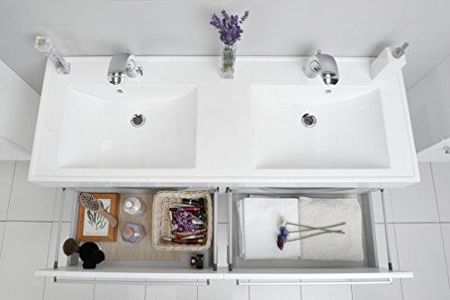 Quentis Doppelwaschplatz Aruva, Breite 140 cm, Waschplatzset 3-teilig, Waschbeckenunterbau mit zwei Schubladen, Front und Korpus weiß glänzend - 7
