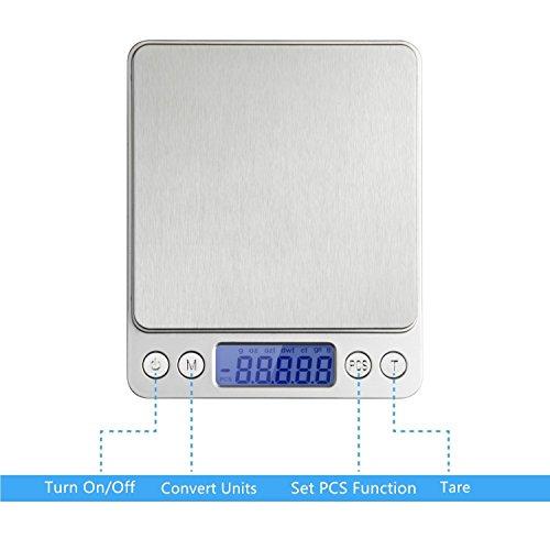 Digitale Küchenwaage IDAODAN 3000*0.1g Lebensmittel Grammschuppen Electronische Professionelle Waage Feinwaage mit Beleuchteter LCD-Anzeige Silber - 4