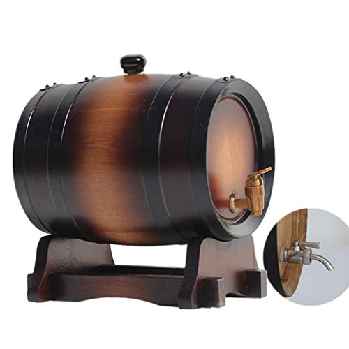 MY1MEY Whiskey Barrel 5L, Retro Style Real Oak Barrel Suitable for Brewing Wine or Storing Beer Spirits Whiskey (Color : Barrel+304 Faucet, Size : 5L)