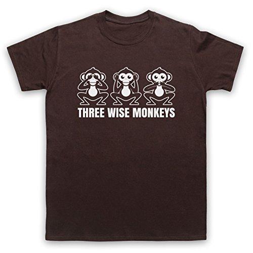Three Wise Monkeys Fable Herren T-Shirt Braun