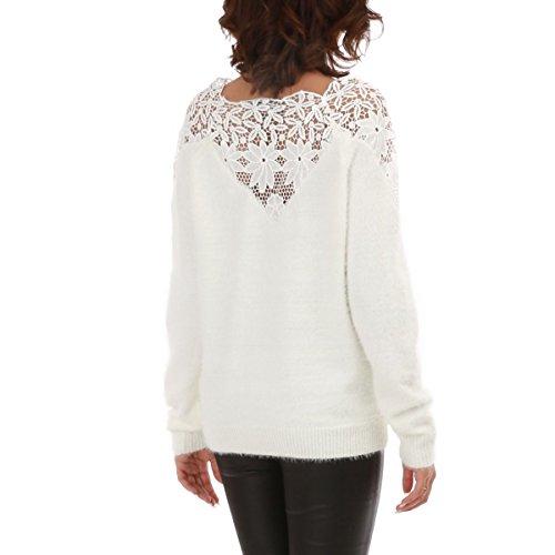 La Modeuse - Pull léger style mohair Blanc