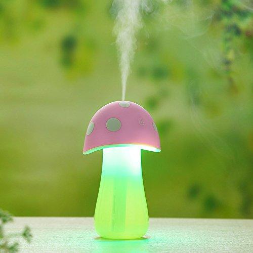 KITCHEN TOOLS Mini Humidificador Noche luz portátil de Niebla fría humidificador ultrasónico para iluminación de Noche, el Modo USB Power Tranquilo Dormitorio Office Family Car,Rosa,1