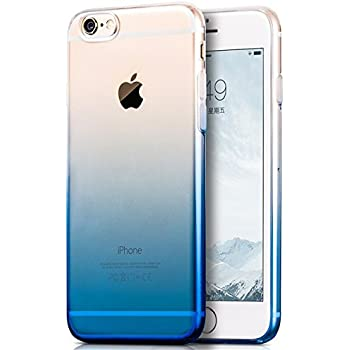 Egotude® Gradient Soft Silicone Transparent Back Cover Case for Apple iPhone 6S & 6 Blue