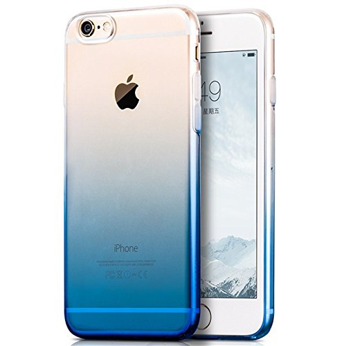 Egotude Gradient Soft Silicone Transparent Back Cover Case for Apple iPhone 6S & 6 Blue