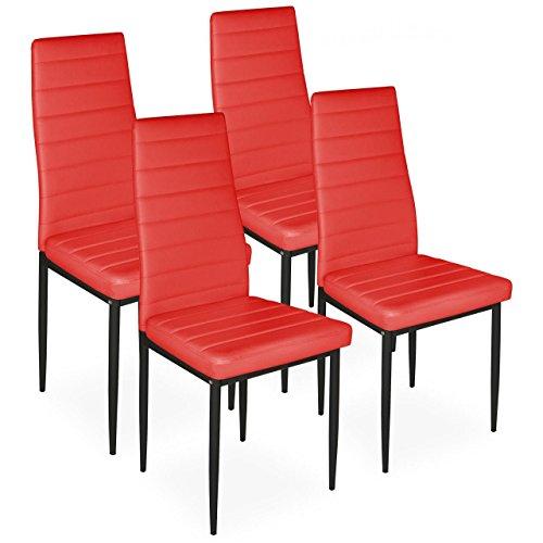 Homelux 4er-Set Stühle Esszimmerstühle Polsterstuhl (T x B x H) 43 x 43 x 97,5 cm Rot