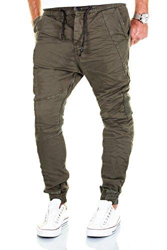 Jogg Jeans Herren Hose Biker Chino Denim Cargo Harem Jogger Sweathose Slim Pants (W30/L32, Olive)