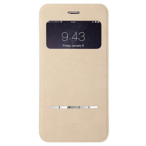 """iPhone 6S Plus / 6 Plus Hülle, IVSO Hohe Qualität Case Folio Tasche Cover-mit Standfunction, Fenster, ist für Apple iPhone 6 plus/6s Plus 5.5"""" Smartphone-Passen nicht iPhone 6/6s 4.7"""",Gold Gold"""