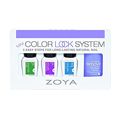 Zoya Professional Laquer - Mini Color Lock System *Set of 4* Set Includes: 1x 3-in-1 Formula Polish Remover (15ml), 1x Anchor Basecoat (7.5ml), 1x Armor Topcoat/UV Block (7.5ml) and 1x Speed Dry Drops Fast Drops (7.5ml)