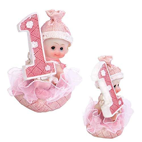 Baby- Figur zum 1. Geburtstag, Tortenfigur Kuchen Topper, Tischdekoration, 7 cm (Mädchen - rosa) (Geburtstag Kuchen-ideen Für Mädchen)