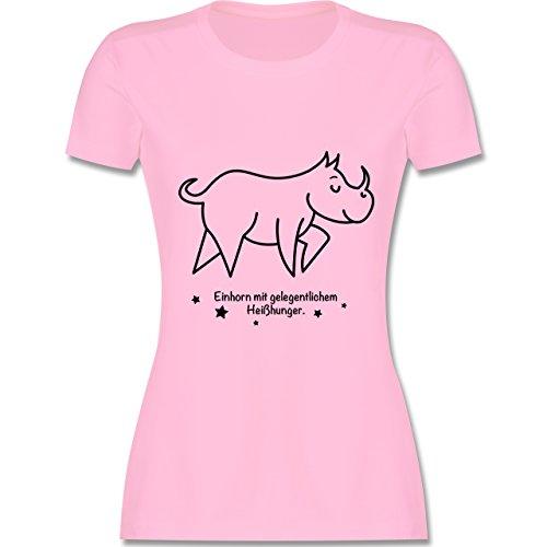 Typisch Frauen - Einhorn mit gelegentlichem Heißhunger - tailliertes Premium T-Shirt mit Rundhalsausschnitt für Damen Rosa