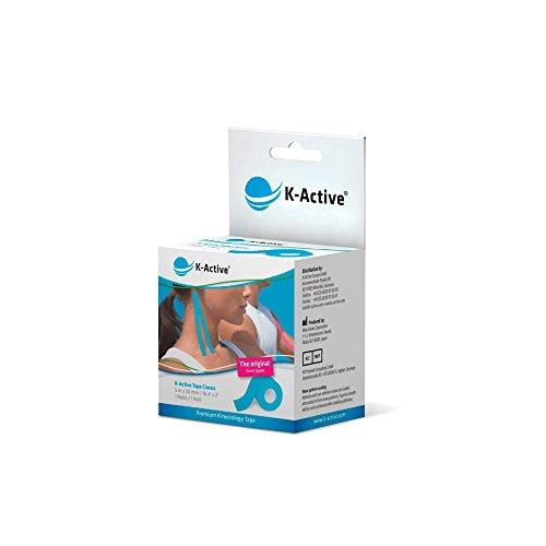 K-Active Kinesiologie Tape Classic BLAU, wasserabweisend und hypoallergen, 50 mm x 5 m, 1er Box