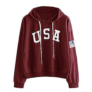 TWIFER Hoodie Brief Flagge Gedruckt Sweatshirt Langarm Pullover Tops Bluse (2XL/EU 42, Weinrot)