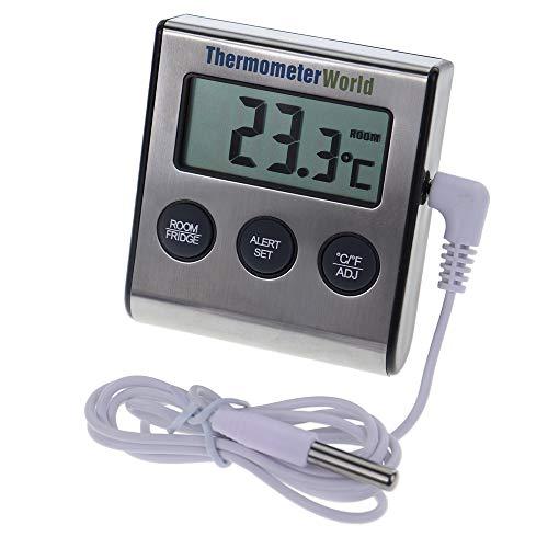Termómetro digital para frigorífico con alarma de aviso por temperatura alta o baja regulable