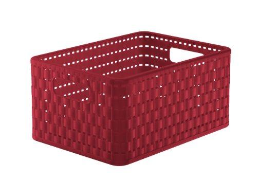 Rotho Country Aufbewahrungskiste in Rattan-Optik, Kunststoff (PP), rot, A5+ / 11 Liter (32,8 x 23,8 x 16 cm) -