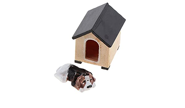 Echelle 1//12 Chien et Maison Miniatures Dollhouse Garden Decoration