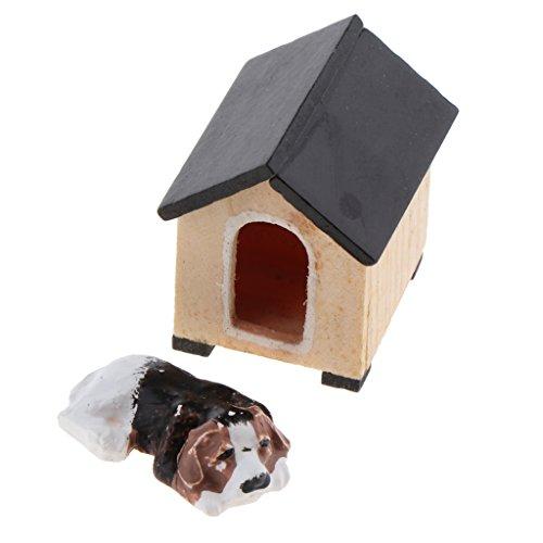 Gazechimp 1/12 Puppenhaus Mini Hund Welpe mit Hundezwinger Puppenstube Garten Zubehör