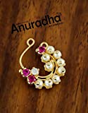 Anuradha Art Pink Colour Styled with Pearls Beads Traditional Marathi Besar Nath/Nose Pin for Women/Girls {Press On Besar Nath}