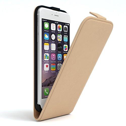 EAZY CASE Hülle für Apple iPhone 6 / 6S Hülle Flip Cover zum Aufklappen Handyhülle aufklappbar, Schutzhülle, Flipcover, Flipcase, Flipstyle Case vertikal klappbar, aus Kunstleder, Hellbraun - 6 Leder Case Vertikal Iphone