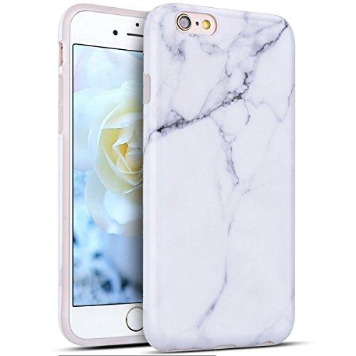 Etui iPhone 6S, iPhone 6 Silicone Coque, RosyHeart Motif Marbre Etui Coque TPU Slim Bumper pour iPhone 6 6S (4.7 pouces) Souple Housse de Protection Flexible Soft Case Cas Couverture Anti Choc Mince Légère Opaque Gel Cover - Blanc