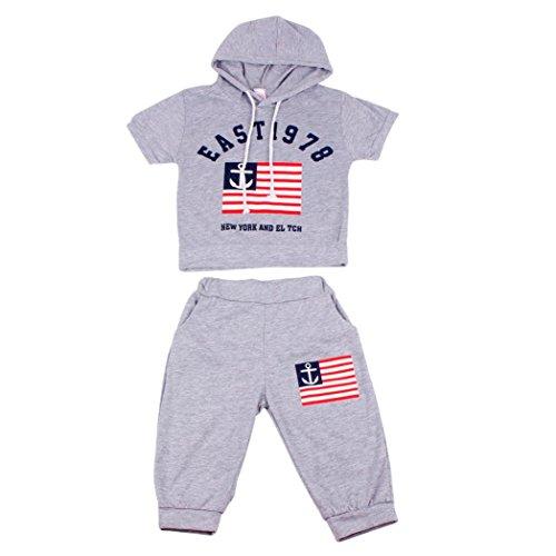 Saingace 2-7 Jahre alt Neue Sommer-Kind-Kleidungs-Jungen-mit Kapuze T-Shirt und Hosenklagen (120, Grau) (Länge Shirts 3 4)