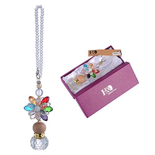 H & D Kristall mit Parfum abfüllers Anhänger KFZ Zubehör Aufhängen Dekoration Geschenk für Frauen (Kristall Blume & Parfüm Flasche)
