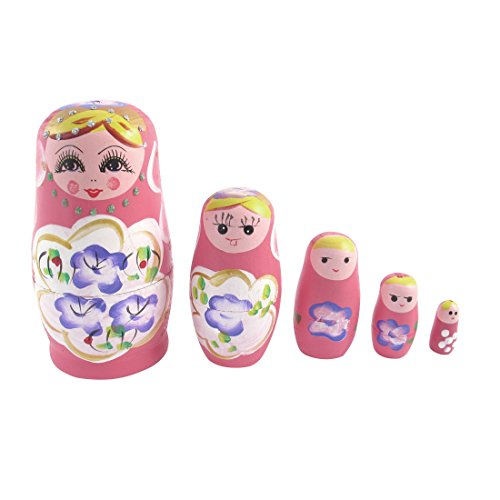Preisvergleich Produktbild sourcingmap® 5 in 1 Russische Matroschka Holzpuppe Matryoshka Babuschka Nesting Puppen