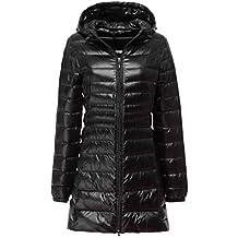 6b5715265cae LvRao Donna Giacche di Piuma con Cappuccio Giacche Piumino Lungo Ultra  Leggero Packable Cappotto Invernali