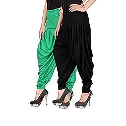 Navyataa Womens Lycra Dhoti Pants For Women Patiyala Dhoti Lycra Salwar Free Size (Pack Of 2) Green & Black