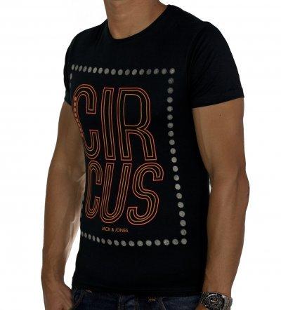 JACK & JONES - FASTER 3 Herren T-Shirt Oberteil Slim Fit 1142 Black Navy