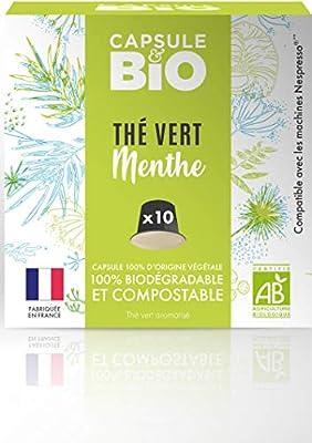 Capsule de thé BIO - Thé Vert Menthe BIO -10 capsules compatibles Nespresso® - Capsule biodégradable, compostable- Fabriqué en France