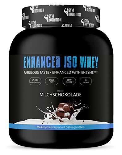 GYM-NUTRITION® - WHEY ISOLAT-PROTEIN + Verdauungsenzym - Beliebt als Protein-Shake beim Muskel-Aufbau - sehr gut löslich - Taste MILCHSCHOKOLADE - 1kg - Made in Germany