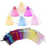 Gudotra 100pz Sacchetti Organza Portaconfetti 20 Colori Bustine Bomboniere Confetti per Matrimonio Battesimo Compleanno Natale Regalo Caramella Gioielli