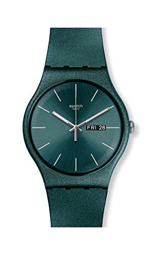 Swatch Damen Analog Quarz Uhr mit Silikon Armband SUOG709