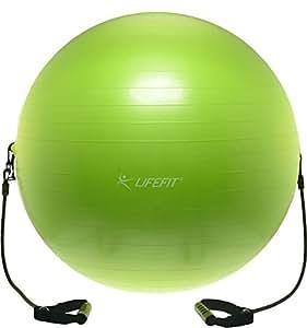 Lifefit Balance Ballon de Gymnastique avec expandeurs, Vert Clair, 55 cm, f-Gym 55–01–e