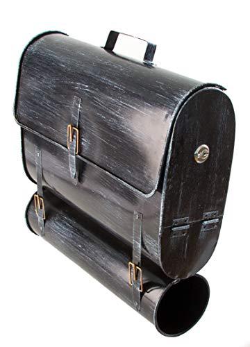 Wandbriefkasten im Schultaschen-Design - Mit Zeitungsrohr - Im Antik-Look und aus verzinktem Stahl - Ideal für einen optischen Akzent im Retro-Design